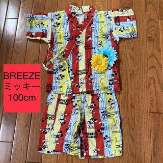 ブリーズ(BREEZE)の美品❁⃘*.゚ディズニーミッキー 甚平 男の子 セットアップ 夏祭り 半ズボン(パジャマ)