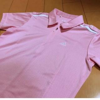 アディダス(adidas)のadidasピンクclimacoolジップシャツ(シャツ/ブラウス(半袖/袖なし))