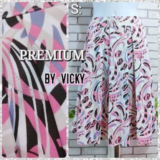 ビッキー(VICKY)のS: ミディアム スカート/プレミアム バイ ビッキー★超美品★ピンク系柄(ひざ丈スカート)