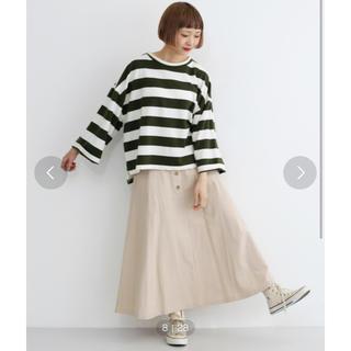 メルロー(merlot)の太ボーダーオーバーサイズトップス グリーン カーキ(Tシャツ(長袖/七分))