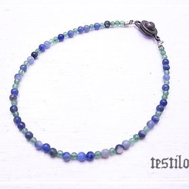 ブルー&グリーンの重ね付細身ブレスレット ハンドメイドのアクセサリー(ブレスレット/バングル)の商品写真