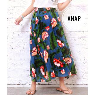 アナップ(ANAP)の【新品未使用】ANAP/フラワー柄ロングフレアスカート (ロングスカート)