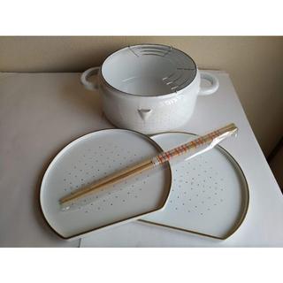 ツインバード(TWINBIRD)の新品 TWINBIRD ホーロー天ぷら鍋 受け皿 菜箸付 未使用(調理道具/製菓道具)
