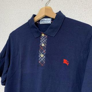 BURBERRY - BURBERRY バーバリーロンドン 半袖ポロシャツ ネイビー Mサイズ