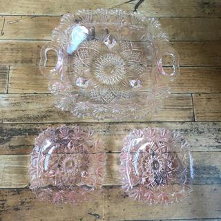 トウヨウササキガラス(東洋佐々木ガラス)のレトロ 東洋ガラス ピンク ガラス器セット(食器)
