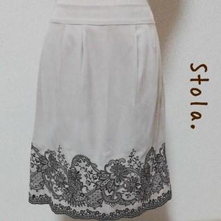 ストラ(Stola.)の【Stola. 】 花刺繍 スカート ベージュ サイズ38(ひざ丈スカート)