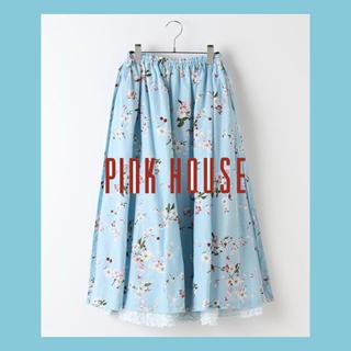 ピンクハウス(PINK HOUSE)の【新品】ピンクハウス 花柄スカート ミディ丈 フレアスカート カネコイサオ(ひざ丈スカート)