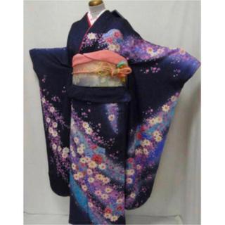 ㉓新品高級正絹振袖・袋帯・長襦袢3点セット 紺紫・可愛い小花 送料無料 (振袖)
