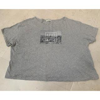 アースミュージックアンドエコロジー(earth music & ecology)の半袖Tシャツ グレー ADRI ATIC  シンプル 短め プリント(Tシャツ/カットソー(半袖/袖なし))