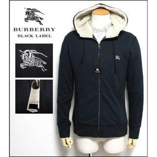 バーバリーブラックレーベル(BURBERRY BLACK LABEL)の新品バーバリーブラックレーベル フード裏ボア付き パーカー 黒 2(M)(パーカー)