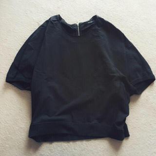 マカフィー(MACPHEE)のMACPHEE トップス 黒 半袖 スウェット カットソー Tシャツ マカフィー(カットソー(半袖/袖なし))