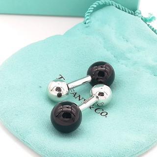 ティファニー(Tiffany & Co.)の希少 美品 ティファニー バーベル ブラック オニキス カフス KH41(カフリンクス)