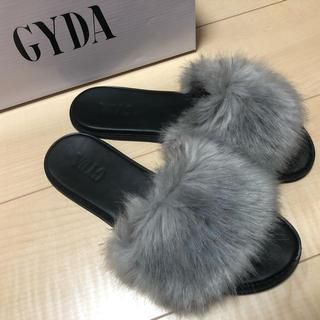 ジェイダ(GYDA)のGYDA フェイクファーサンダル グレー Mサイズ(サンダル)