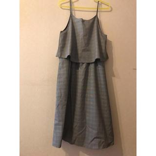 グレー チェック ジャンパースカート(ひざ丈ワンピース)