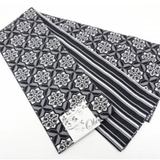 【新品】長尺半幅帯/黒×白/ リバーシブル ♯33(浴衣帯)