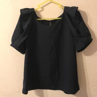 紺 ネイビー 半袖 カットソー L(カットソー(半袖/袖なし))