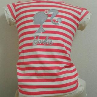 バービー(Barbie)の【超特価!】キッズ 半袖Tシャツ バービー ボーダーレッド 160サイズ(Tシャツ/カットソー)