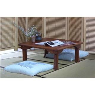 折脚 角座卓/折りたたみテーブル 【正方形 幅75cm】 木製 木目調 ブラウン(ローテーブル)