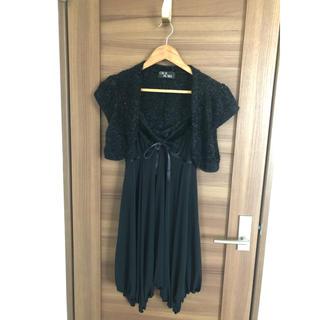 セシルマクビー(CECIL McBEE)のCECIL McBEE 黒ドレス ボレロ付き(ミディアムドレス)