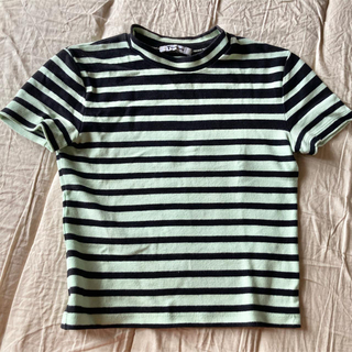 アレキサンダーワン(Alexander Wang)のアレキサンダーワンボーダーカットソーブラックミントXS(Tシャツ(半袖/袖なし))