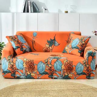 新品3人掛けソファカバー人気なオレンジ色四季鮮やかなインテリア伸縮素材伸びで丈夫(ソファカバー)