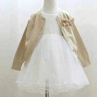 プティマイン(petit main)のパールベビードレス♡ホワイト80~90サイズ♡プレゼントや特別なお祝いの日に⋆*(ドレス/フォーマル)