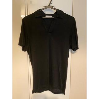 クルチアーニ(Cruciani)のグランサッソ GRAN SASSO リネンジャージ スキッパーポロシャツ 44(ポロシャツ)