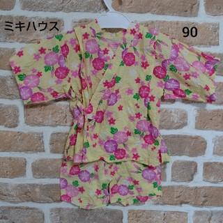 ミキハウス(mikihouse)のミキハウス MIKI HOUSE 黄色 朝顔 甚平 浴衣 90㎝(甚平/浴衣)