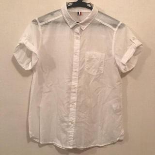 ジーユー(GU)のGU ジーユー 半袖シャツ シースルーブラウス(シャツ/ブラウス(半袖/袖なし))