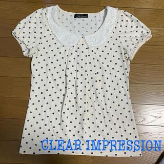 クリアインプレッション(CLEAR IMPRESSION)の【クリアインプレッション】襟付きドットカットソー(カットソー(半袖/袖なし))