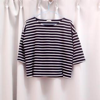 ジーユー(GU)のクロップドボーダーTシャツ(Tシャツ(長袖/七分))
