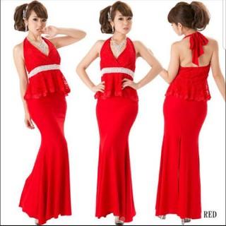 デイジーストア(dazzy store)の美品 ホルターネックロングドレス M(ロングドレス)