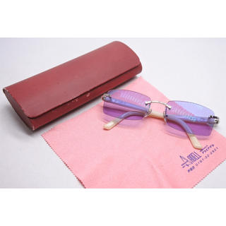 カルティエ(Cartier)のカルティエ ヴィンテージ メガネ 縁なし □18 135 ホワイト プラスチック(サングラス/メガネ)