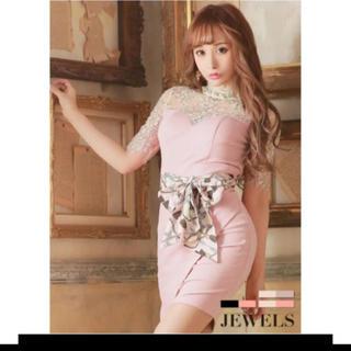 ジュエルズ(JEWELS)の新品 jewels スカーフリボン/ 背中開き/フラワーレース/キャバドレス(ミニドレス)