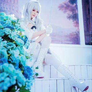 ウィッグ、靴、小物衣装完全セットデート・ア・バレットの狂三の反転体、白の女王(衣装一式)