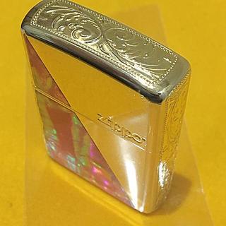ジッポー(ZIPPO)のZIPPO シェルアーマー 両面貝貼+アラベスク 5面加工 ゴールド ユーズド(タバコグッズ)