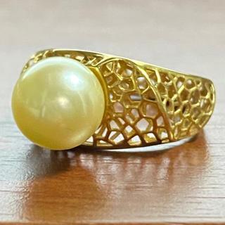 K18 あこやリング 約9ミリ  アコヤパール 真珠 指輪(リング(指輪))