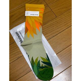 マルニ(Marni)の●BonneMaisonボンヌメゾン黄色オレンジダリア柄ソックス36-38(ソックス)