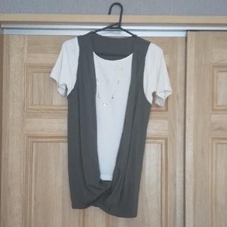フェリシモ(FELISSIMO)のリブインコンフォート ジレドッキングTシャツ〈カーキ〉 フェリシモ(Tシャツ(半袖/袖なし))