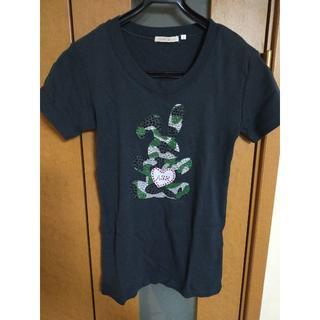エーズラビット(Asrabbit)の【売り尽くし】ウサギモチーフ 迷彩柄スパンコール ロゴ Tシャツ 黒(Tシャツ/カットソー(半袖/袖なし))