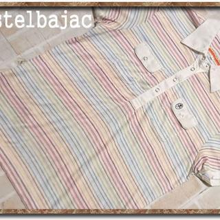 カステルバジャック(CASTELBAJAC)のカステルバジャック 刺繍入りボーダーポロシャツ 白(ポロシャツ)