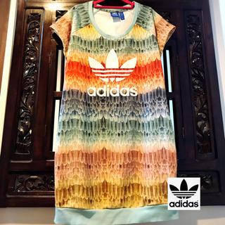 アディダス(adidas)のアディダス ファーム ジャージ ワンピース Tシャツ 天使 羽 オウム 鳥 (ミニワンピース)