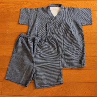 ムジルシリョウヒン(MUJI (無印良品))の美品・試着のみ 無印良品 甚平セット/ネイビー縦縞/130(甚平/浴衣)