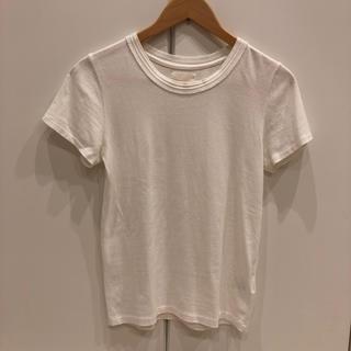レイビームス(Ray BEAMS)のRAY BEAMSレイビームス白丸首Tシャツカットソー綺麗目デザインサイズ0(Tシャツ(半袖/袖なし))