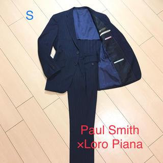 美品★ポールスミス×ロロピアーナSuper120'sストライプスーツ 紺A973