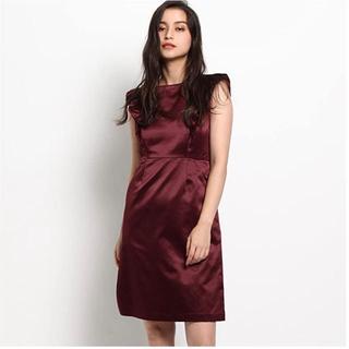 エージーバイアクアガール(AG by aquagirl)のサテンワンピースドレス (レッド&ブラック) タグ付き(ミディアムドレス)