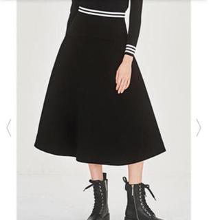 バーニーズニューヨーク(BARNEYS NEW YORK)のBorders at Balcony ボーダーズ  ツイルスカート 黒 新品(ひざ丈スカート)