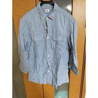 ユニクロ(UNIQLO)の【売り尽くし】ユニクロ ドット柄 青 ブルー 水色 七分袖 シャツ【おすすめ】(シャツ)