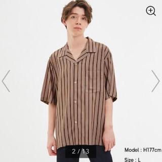 ジーユー(GU)の新品・未使用 GU メンズ オープンカラーシャツ ベージュ Lサイズ(シャツ)