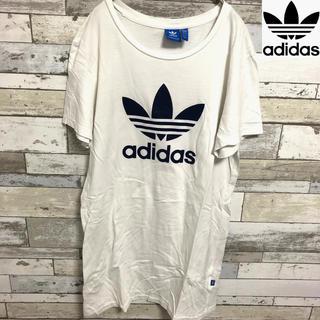 アディダス(adidas)のadidas Tシャツ ワンピース 古着 美品 ゆったり ゆるだぼ 夏服 LL(ひざ丈ワンピース)